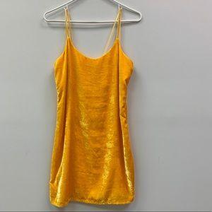 Yellow Velvet Slip minidress